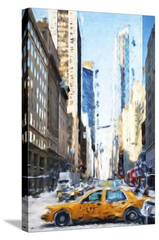 NYC Taxi - In the Style of Oil Painting-Philippe Hugonnard-Stretched Canvas Print