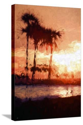 Three Palms - In the Style of Oil Painting-Philippe Hugonnard-Stretched Canvas Print