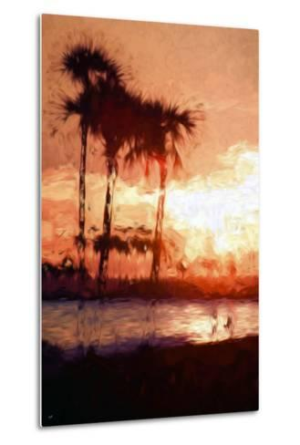 Three Palms - In the Style of Oil Painting-Philippe Hugonnard-Metal Print