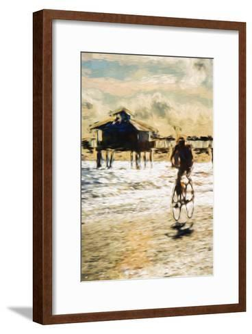 Cyclist - In the Style of Oil Painting-Philippe Hugonnard-Framed Art Print