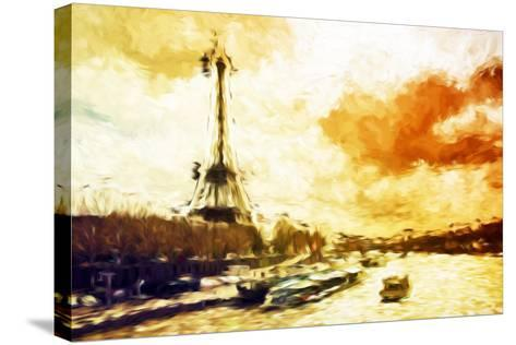 Paris Sunset - In the Style of Oil Painting-Philippe Hugonnard-Stretched Canvas Print