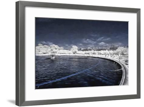 Blue Fountain - In the Style of Oil Painting-Philippe Hugonnard-Framed Art Print