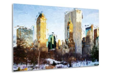 Central Park Buildings - In the Style of Oil Painting-Philippe Hugonnard-Metal Print