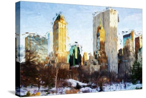 Central Park Buildings - In the Style of Oil Painting-Philippe Hugonnard-Stretched Canvas Print