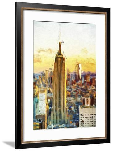 Empire State Sunset III - In the Style of Oil Painting-Philippe Hugonnard-Framed Art Print