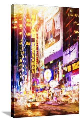 Manhattan Night - In the Style of Oil Painting-Philippe Hugonnard-Stretched Canvas Print