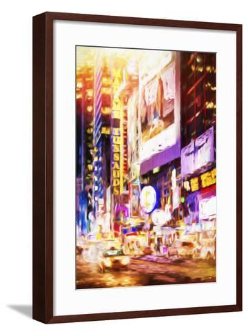 Manhattan Night - In the Style of Oil Painting-Philippe Hugonnard-Framed Art Print