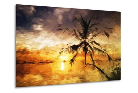 Sunset Palm III - In the Style of Oil Painting-Philippe Hugonnard-Metal Print