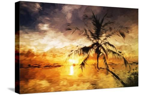 Sunset Palm III - In the Style of Oil Painting-Philippe Hugonnard-Stretched Canvas Print