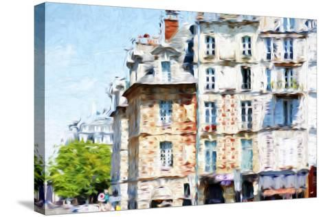 Paris Buildings - In the Style of Oil Painting-Philippe Hugonnard-Stretched Canvas Print