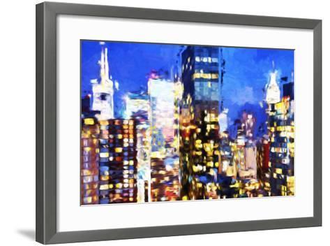 Manhattan Night VIII - In the Style of Oil Painting-Philippe Hugonnard-Framed Art Print