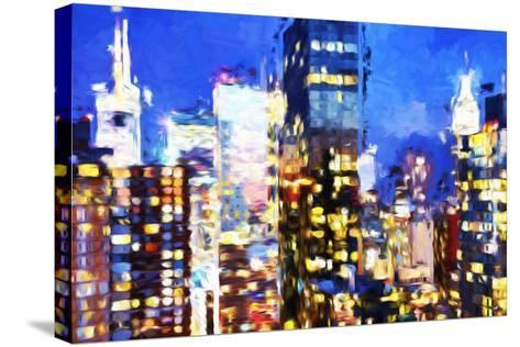 Manhattan Night VIII - In the Style of Oil Painting-Philippe Hugonnard-Stretched Canvas Print
