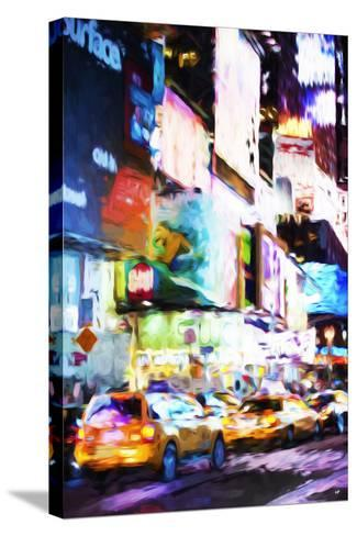 Night Times Square - In the Style of Oil Painting-Philippe Hugonnard-Stretched Canvas Print