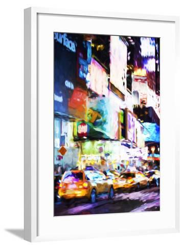 Night Times Square - In the Style of Oil Painting-Philippe Hugonnard-Framed Art Print
