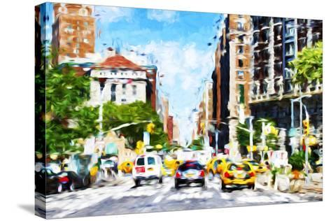 NYC Urban Scene - In the Style of Oil Painting-Philippe Hugonnard-Stretched Canvas Print
