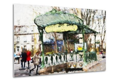 Subway Entrance - In the Style of Oil Painting-Philippe Hugonnard-Metal Print