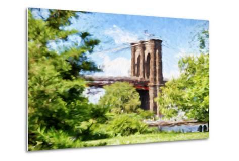 The Brooklyn Bridge - In the Style of Oil Painting-Philippe Hugonnard-Metal Print