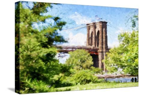 The Brooklyn Bridge - In the Style of Oil Painting-Philippe Hugonnard-Stretched Canvas Print