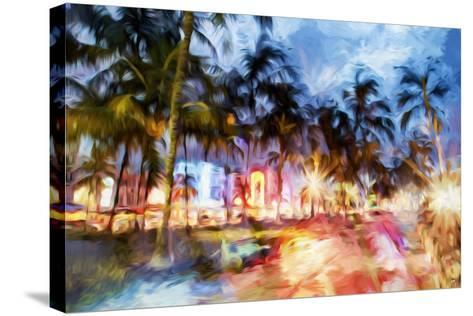 Miami Beach Night - In the Style of Oil Painting-Philippe Hugonnard-Stretched Canvas Print