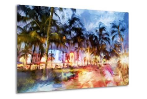 Miami Beach Night - In the Style of Oil Painting-Philippe Hugonnard-Metal Print