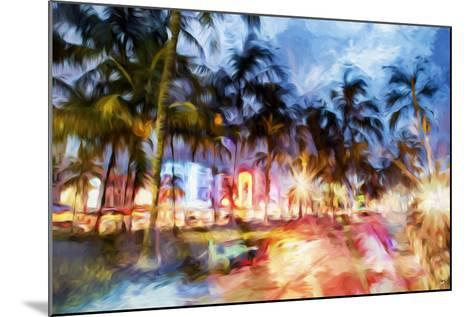 Miami Beach Night - In the Style of Oil Painting-Philippe Hugonnard-Mounted Giclee Print