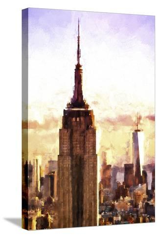 Top of the Empire State Building at Sunset-Philippe Hugonnard-Stretched Canvas Print