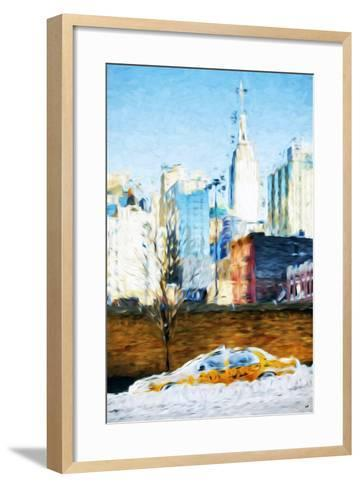 Snowy Taxi - In the Style of Oil Painting-Philippe Hugonnard-Framed Art Print
