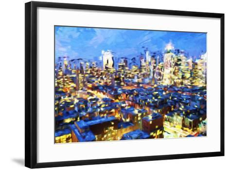 Manhattan Night VII - In the Style of Oil Painting-Philippe Hugonnard-Framed Art Print