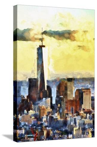NYC Fiery Sunset-Philippe Hugonnard-Stretched Canvas Print