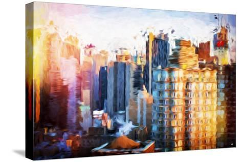 Times Square Life - In the Style of Oil Painting-Philippe Hugonnard-Stretched Canvas Print