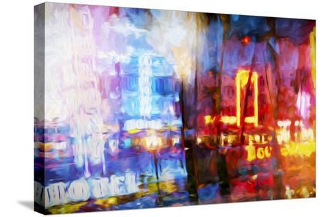 Blue & Red - In the Style of Oil Painting-Philippe Hugonnard-Stretched Canvas Print