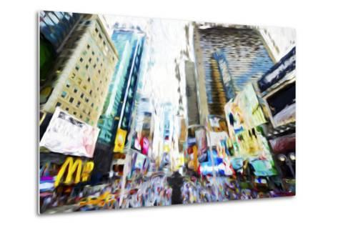 Times Square Buildings III - In the Style of Oil Painting-Philippe Hugonnard-Metal Print