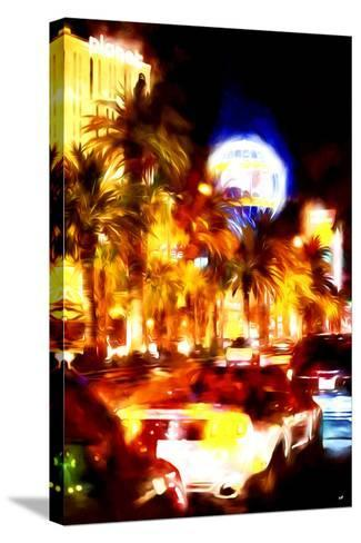 Vegas Traffic - In the Style of Oil Painting-Philippe Hugonnard-Stretched Canvas Print