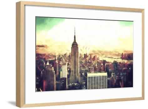 Manhattan Fiery Sunset-Philippe Hugonnard-Framed Art Print
