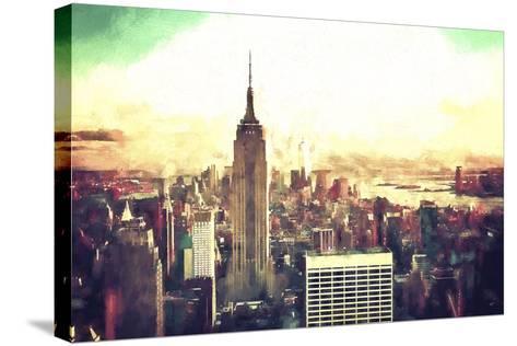 Manhattan Fiery Sunset-Philippe Hugonnard-Stretched Canvas Print