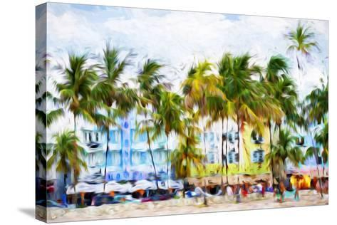 Ocean Drive Beach II - In the Style of Oil Painting-Philippe Hugonnard-Stretched Canvas Print