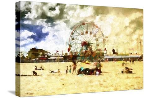 Coney Island Summer Beach-Philippe Hugonnard-Stretched Canvas Print