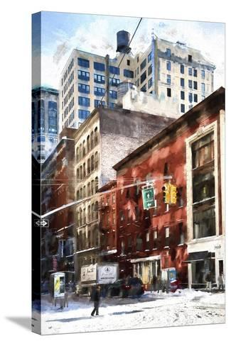 Manhattan Street in Winter-Philippe Hugonnard-Stretched Canvas Print