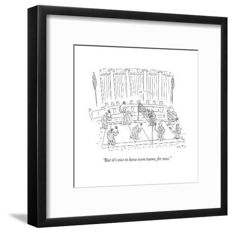 """""""But it's nice to have even teams, for once."""" - Cartoon-Kim Warp-Framed Art Print"""