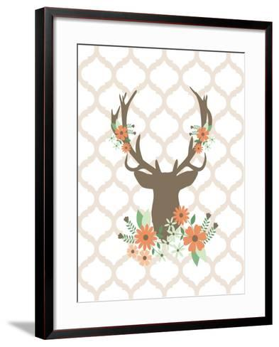 Deer Flowers 1-Tamara Robinson-Framed Art Print