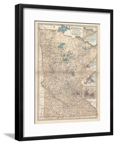 Map of Minnesota-Encyclopaedia Britannica-Framed Art Print