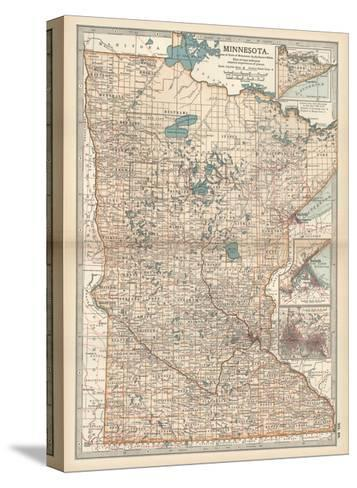 Map of Minnesota-Encyclopaedia Britannica-Stretched Canvas Print