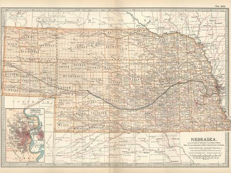 Map of Nebraska. United States. Inset Map of Omaha and Vicinity-Encyclopaedia Britannica-Stretched Canvas Print