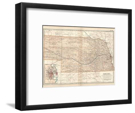 Map of Nebraska. United States. Inset Map of Omaha and Vicinity-Encyclopaedia Britannica-Framed Art Print