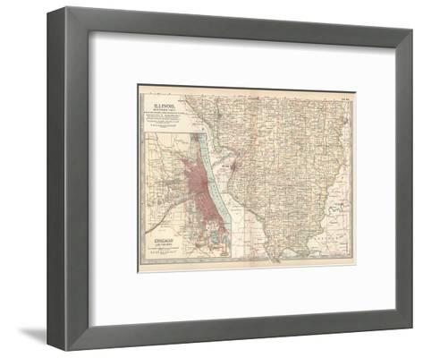 Map of Illinois, Southern Part. United States. Inset Map of Chicago and Vicinity-Encyclopaedia Britannica-Framed Art Print