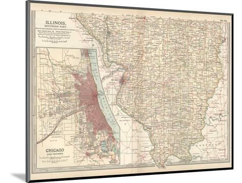 Map of Illinois, Southern Part. United States. Inset Map of Chicago and Vicinity-Encyclopaedia Britannica-Mounted Giclee Print