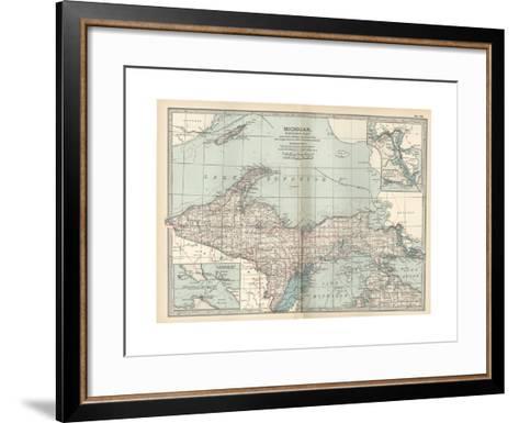 Map of Michigan, Northern Part-Encyclopaedia Britannica-Framed Art Print