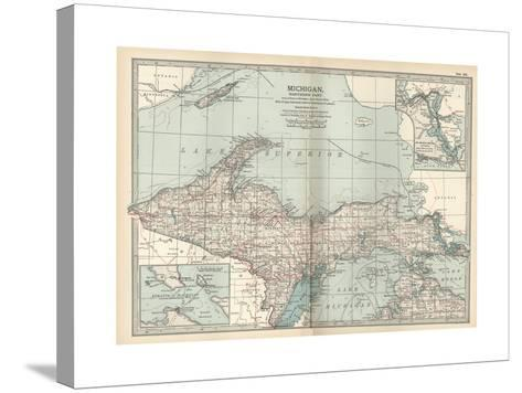 Map of Michigan, Northern Part-Encyclopaedia Britannica-Stretched Canvas Print