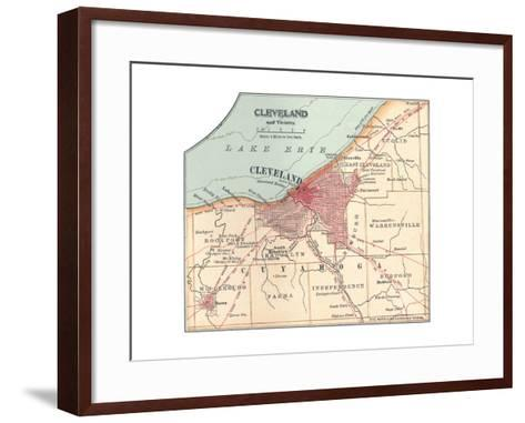 Map of Cleveland (C. 1900), from the 10th Edition of Encyclopaedia Britannica, Maps-Encyclopaedia Britannica-Framed Art Print