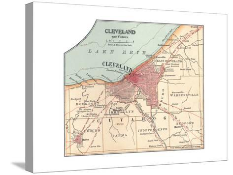 Map of Cleveland (C. 1900), from the 10th Edition of Encyclopaedia Britannica, Maps-Encyclopaedia Britannica-Stretched Canvas Print